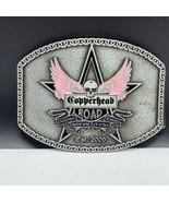 Womens belt buckle motorcycle skull angel wings pink pewter Copperhead o... - $23.76