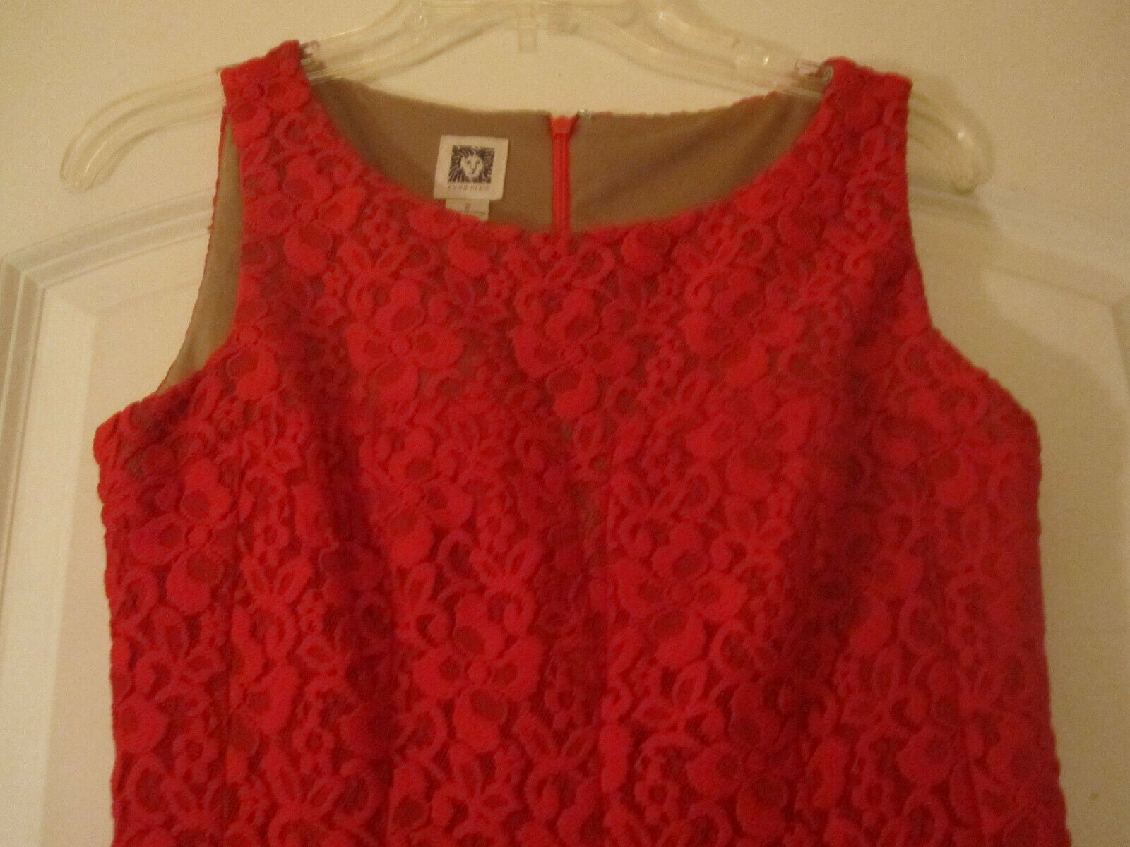 Anne Klein Womens Red Crochet Dress Lined Sleeveless Size 2 image 3