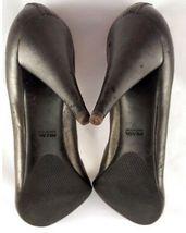 Women's PRADA Dark Grey Calf Leather Thin Heel Pump Shoes Size 391/2 image 5