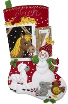 Bucilla Barnyard Friends Horse Sheep Snowman Christmas Felt Stocking Kit 86939E - $39.95
