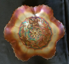 Antique Dugan Glass Cosmos Variant Marigold Carnival Glass Bowl, circa 1... - $27.00