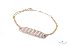 Diamond Encrusted Name Tag Bracelet in 18k Yellow Gold - $2,995.00