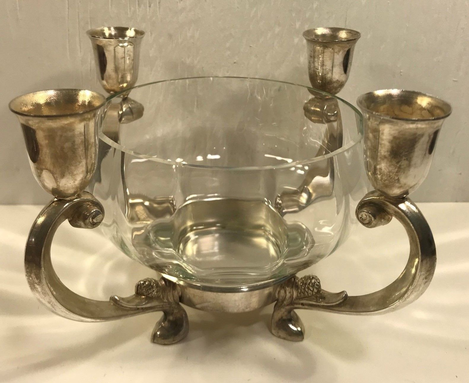 Towle Silverplate Candle Holder Clear Glass And 25 Similar Items