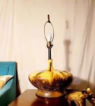 "30"" Original Danish MCM Gold Squatty Fat Lava Drip Glaze Pottery Lamp Te... - $490.05"