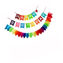 Happy Birthday Decorations Banner,Rainbow Paper Garland For Party Supplies - £17.62 GBP