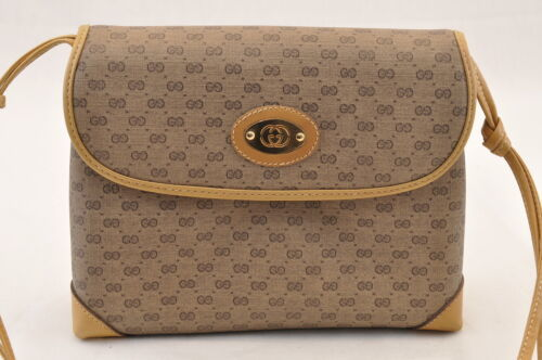GUCCI GG Canvas Shoulder Bag Brown PVC Leather Auth sa1823 **Powder image 2