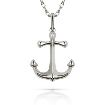 Solid 14K White Gold Anchor Pendant Charm for Chain or Necklace New w/ C... - $61.36+