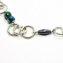 Necklace the Aluminium Long 60 Inch with Hematite Faceted and Crystal image 4