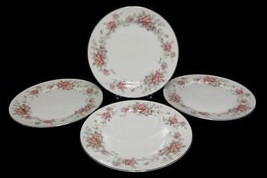 "Set of 4 Dinner Plates 10"" Spring Time China White w Platinum Gilt Primr... - $17.82"
