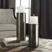 Two Urban Modern Pillar Aged Blue Green Bronze Iridescent Glass Candle Holders - $209.00