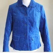 Talbots Womens Size 8 Jacket Blazer Quilted Blue Plush NWOT - $42.76