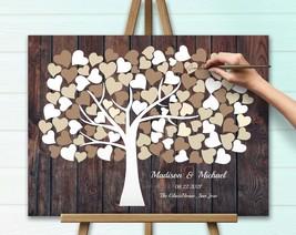 Wedding Tree Rustic guest book Fingerprint Tree, Modern alternative, Gue... - $49.00+