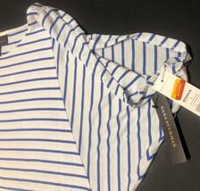 Dana Buchman Blouse Top Open Shoulder Striped Blue & White image 4