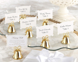 96 Gold Kissing Bell Wedding Place Card Photo Holder Favor with Heart Bow - €135,04 EUR