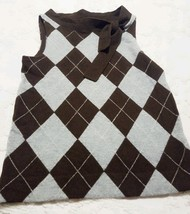 J Crew Brown Gray Argyle Sleeveless Wool Sweater Vest Size Small - $27.90