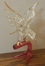 Sale Beautiful New Hand Blown Glass Eagle Figurine Perched Branch - $24.74