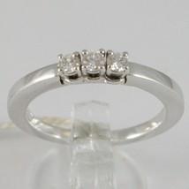 White Gold Ring 750 18K, Trilogy 3 Diamonds Carat Total 0.18, Shank Square image 1