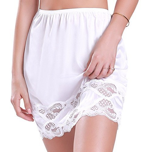 "Ilusion Women's Classic Half Slip Skirt with Lace Trim 1017/1817 (Large (18"" Len"