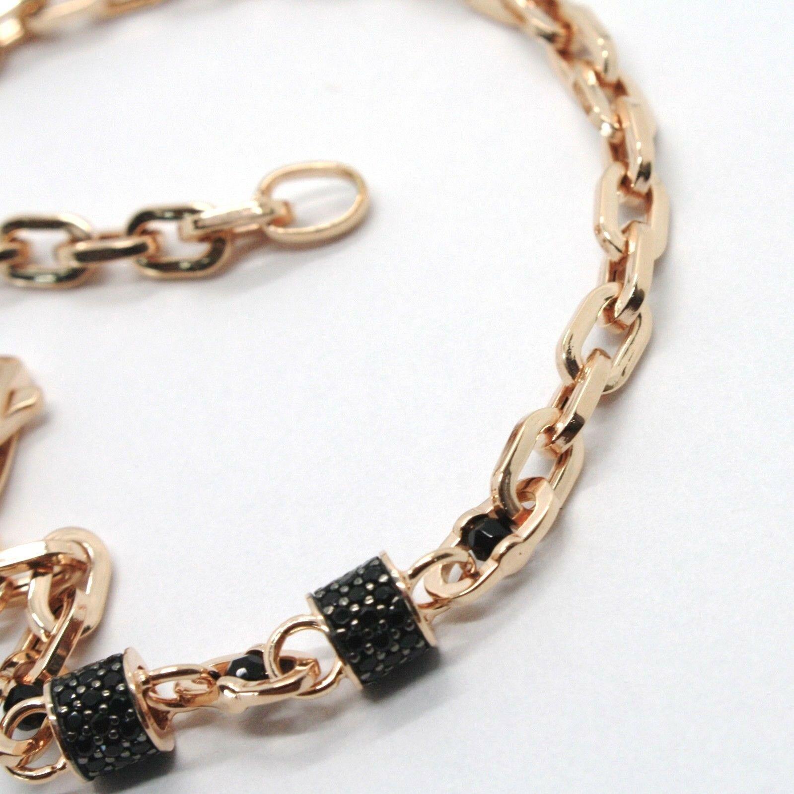 Armband Gold Pink 18K 750, Röhren mit Zirkonia Schwarze und Ovale Abwechselnde, image 2