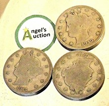 Liberty Head Nickel Five-Cent Pieces 1910 - 1912 AA20-CNN2140 Antique image 1