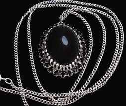 Vintage Black Prong Set Rhinestone Pendant Silver Plated Chain Necklace*... - $17.82
