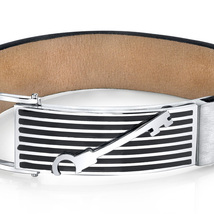 Mens Striped Key Black Leather & Stainless Steel Bracelet image 2