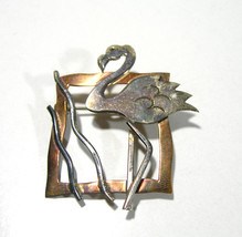 STERLING SILVER MIXED METALS FRAMED FLAMINGO BIRD IN GRASS BROOCH PIN - $80.00