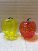 Two Vintage Art Glass Apple Paperweights Decor Brass Stems Mid Century - $12.00