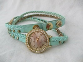 Geneva Women's Stylish Blue & Gold Toned Wrap Around Bracelet Wristwatch - $29.00