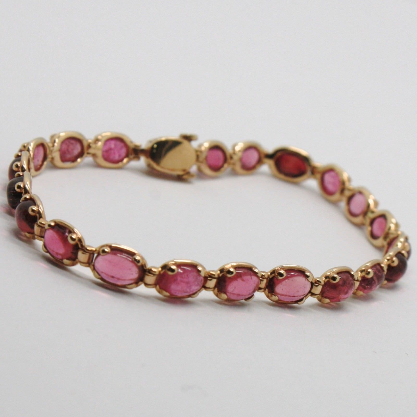 BRACELET OR ROSE 9K TYPE TENNIS AVEC TOURMALINE ROSE NATUREL MADE IN ITALY
