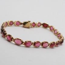 Bracelet Or Rose 9K Type Tennis Avec Tourmaline Rose Naturel Made In Italy - $808.26