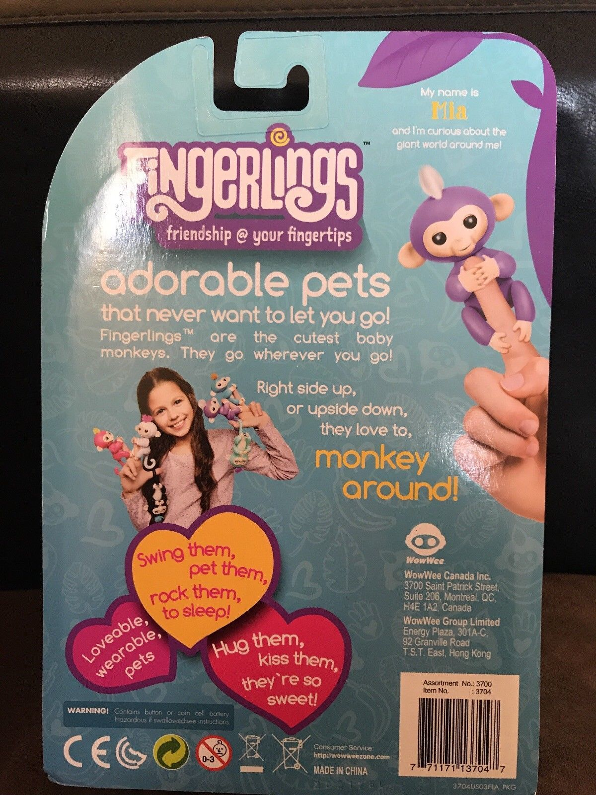 WowWee Fingerlings Interactive Baby Monkey Mia Purple with White Hair NEW