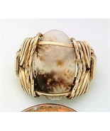 Crary Plume Agate Gold Wire Wrap Ring sz 5 - $43.00