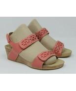 Clarks Size 7 M Bendables Alto Anthem Coral Leather Wedge Sandals Hook &... - $28.25