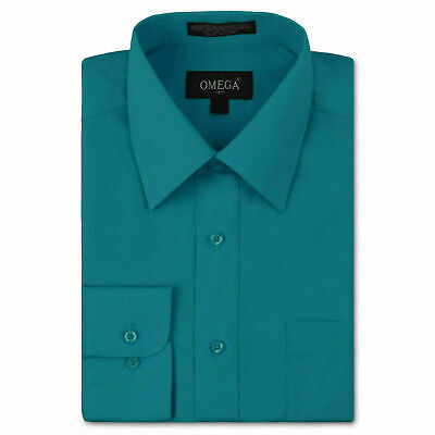Omega Italy Men's Long Sleeve Solid Teal Button Up Dress Shirt - 3XL