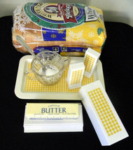 Yellow Plastic Butter Dish Salt and Pepper with Tray Vintage Kitchen Tab... - $4.99