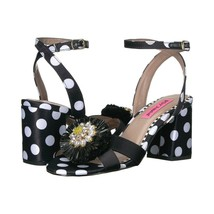 Betsey Johnson Asha Polka Dot Satin Floral Ankle Strap Block Heel Pumps ... - $83.66