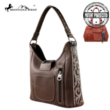 Tooling Collection Montana West Conceal Carry Satchel Handbag Green image 2