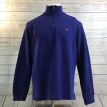 Polo Ralph Lauren Blue Rib Half Zip Pull Over Sweater Red Pony NWT Mens Size L - $57.15
