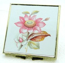 VTG Gold Tone Floral Bouquet Makeup Mirror Brass Compact Made in China - $19.80