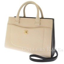 CHANEL Neo Executive Calf Off White Black A69930 Handbag 2Way France  Au... - $2,575.61