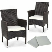 2 pcs Dining Chairs Set with 2 Cushions Outdoors Patio Porch  - $124.99