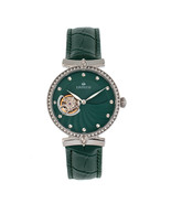 Empress Edith Semi-Skeleton Leather-Band Watch - Green - $685.00