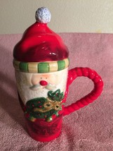 SAKURA BRIGHT CHRISTMAS  SANTA COFFEE MUG--LIDDED--CERAMIC----FREE SHIP-... - $19.31