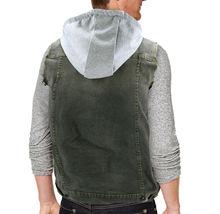 CS Men's Ripped Distressed Button Up Denim Jean Vest Removable Hood Slim Fit image 12