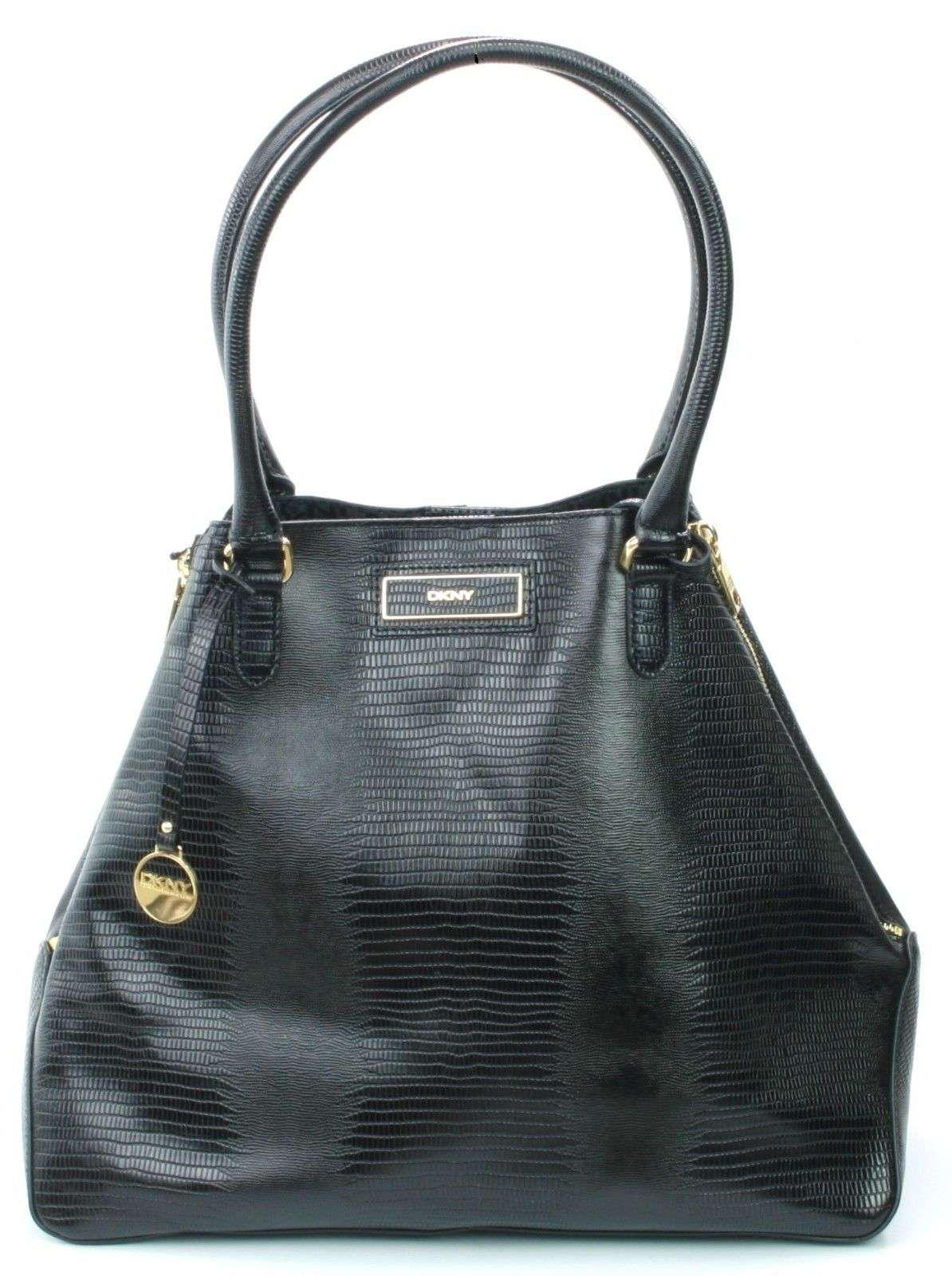 DKNY Donna Karan Black Lizard Print Leather Tote Bag Large Handbag - $300.40
