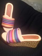 Pierre Dumas Multi 1 Red Candy Striped Platform Women's Sandals Shoes Size 8M - $24.74