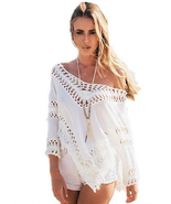 tp147 CFLB Ladies Vintage White Lace Top Off Shoulder Oversized Blouse B... - $19.99
