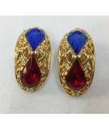 Clip On Earrings Filigree Blue & Red Rhinestone Tear Drop Gold Tone Meta... - $9.89