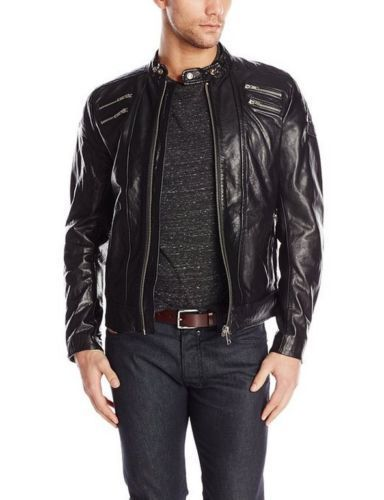 New Men's Stylish Lambskin Genuine Leather Motorcycle Biker Slim Fit Jacket  GN3
